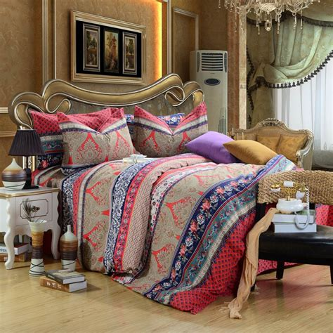 boho twin bedding new arrival luxury fleece fabric 4pcs 100 cotton boho bedding set with red print