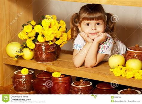 young girl honey pot little cute girl with a pot of honey royalty free stock