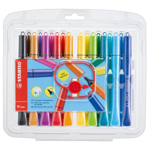stabilo cap stabilo cappi colouring pens with cap ring wallets of 12