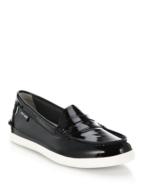 cole haan patent leather loafers cole haan pinch weekend patent leather loafers in black lyst