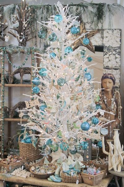 beach themed christmas tree white  accents  blue