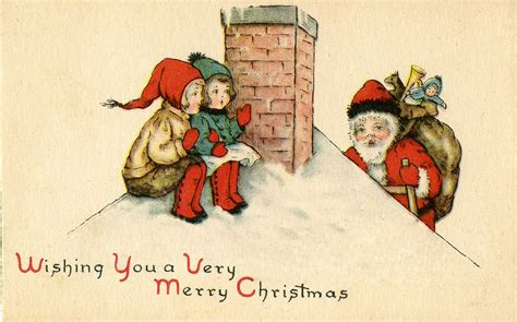 vintage christmas vintage christmas image cute santa on roof with kids