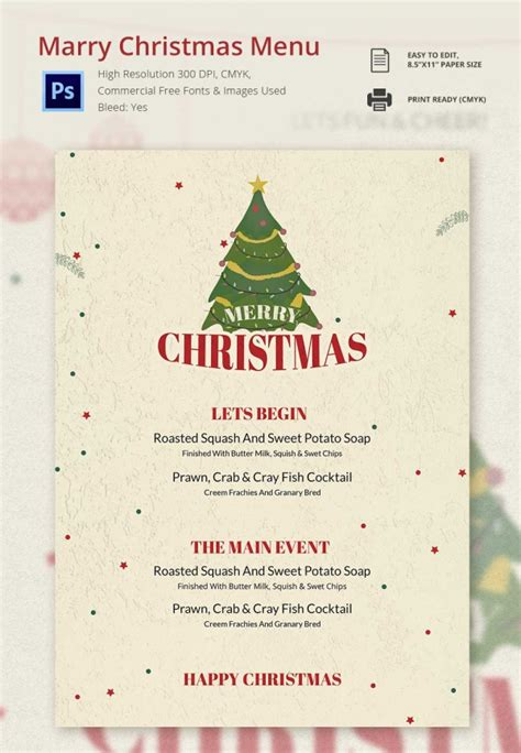 christmas menu template 32 free psd eps ai