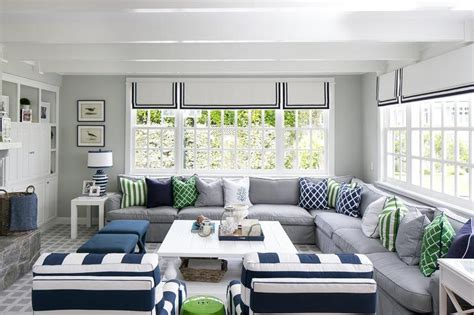 white grey green living room white and gray cottage living room with pops of blue cottage living room