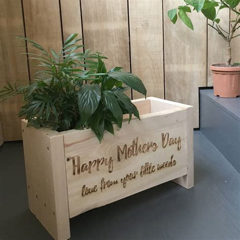 personalised recycled spruce engraved planter box by