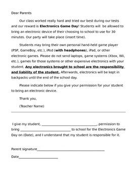 Permission Letter From Parents To School electronics day permission letter to parents by ms hawkins