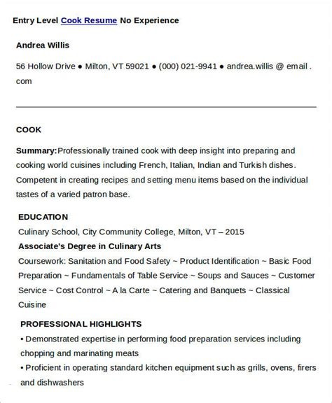 Cook Experience Resume by Cook Resumes 9 Free Word Pdf Format Free