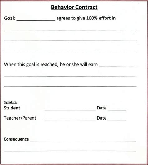 Student Behavior Contract And Ps On Pinterest Behavior Contract Template Elementary