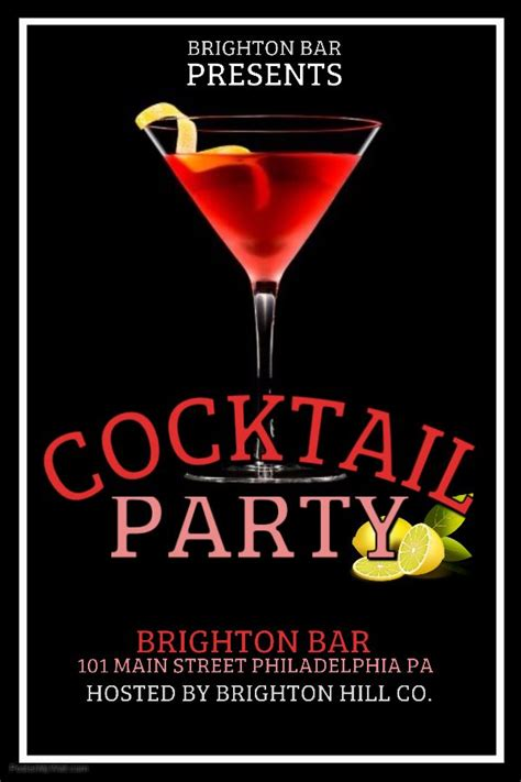 bar flyer template red cocktail party click on the image