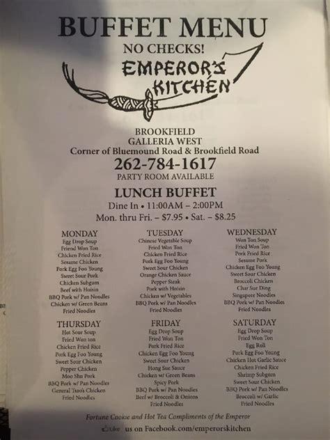 Emperor S Kitchen Menu by Buffet Menu Yelp