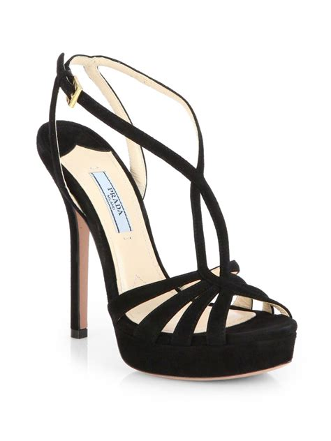 black strappy sandals lyst prada strappy suede platform sandals in black