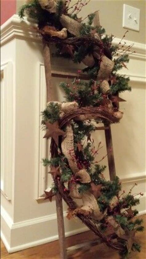 how much ribbon to decorate a 7 foot tree 1000 images about primitive ladders on logs primitive wall decor and light orange