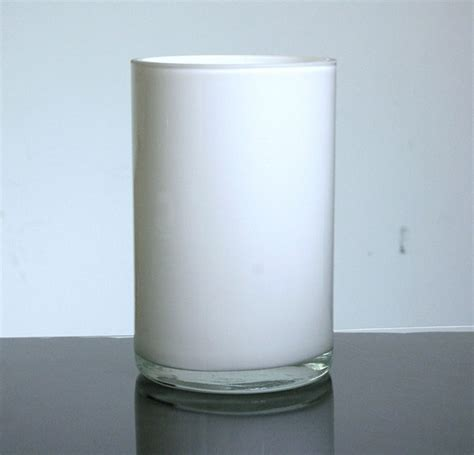 White Cylinder Vase by Baked Cylinder Glass Vase 5 Quot X 8 Quot 6 P C White Black And
