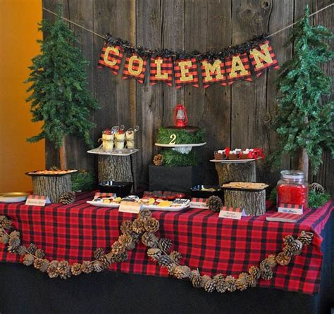 Little lumberjack themed 2nd birthday party with such cute ideas via