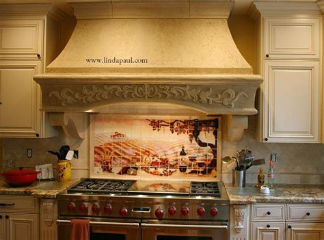 kitchen mural backsplash the vineyard tile murals tuscan wine tiles kitchen