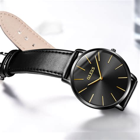 Clepsydra Luxury Minimalist Leather Quartz ultra thin wristwatch olevs brand luxury leather