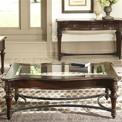 Kingston Plantation Rectangular Cocktail Table with Beveled Glass Top and Metal Stretcher