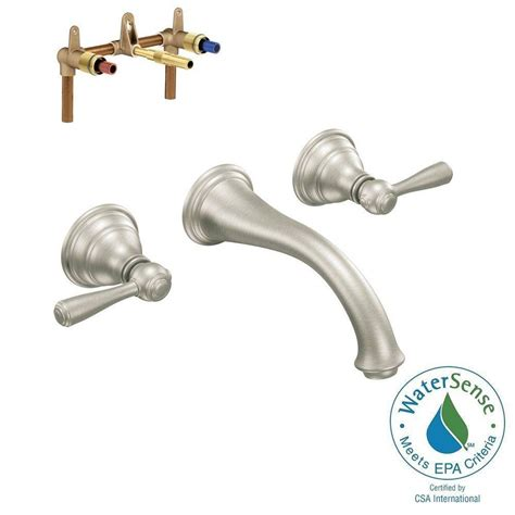 moen wall mount kitchen faucet moen kingsley wall mount 2 handle low arc bathroom faucet