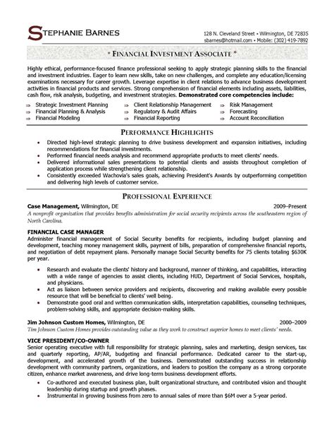 Investment Associate Sle Resume resume sles elite resume writing