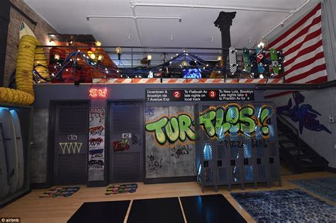 ninja themed bedroom airbnb offers teenage mutant ninja turtles themed lair in