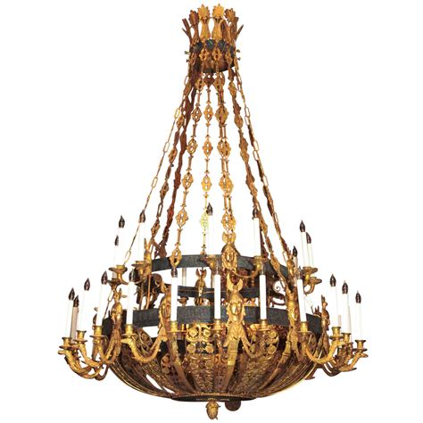 Gold Chandeliers Antique Bronze Gold And Patinated Empire Chandelier At 1stdibs