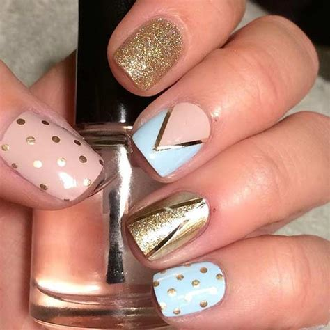 Gold And Blue Nail Designs
