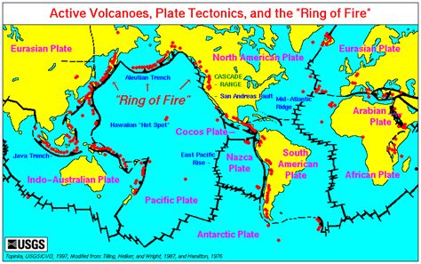 geography site ring  fire    find volcanoes