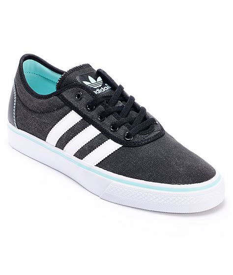 adidas adi ease black white canvas shoes zumiez
