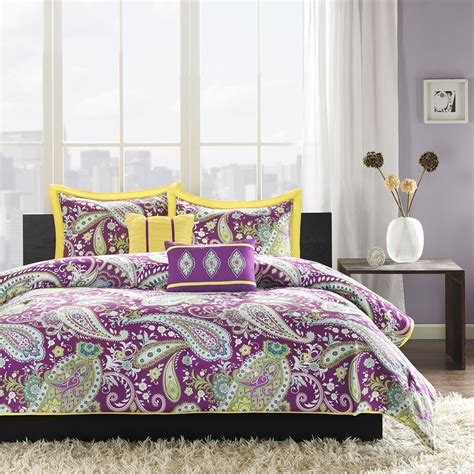 Purple And Green Bedding Sets Purple Comforter Sets Purple Bedroom Ideas