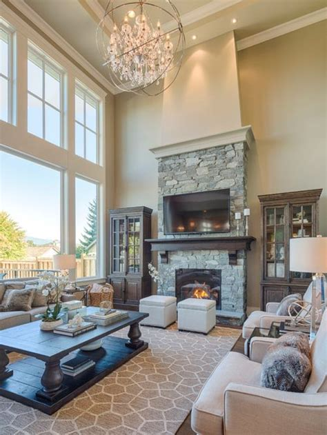 2 story living room two story great room home design ideas pictures remodel
