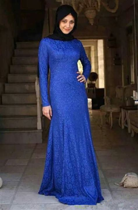 Gamis Abaya Kaftan Syar I 2tone 1 give royal look with blue colored abaya