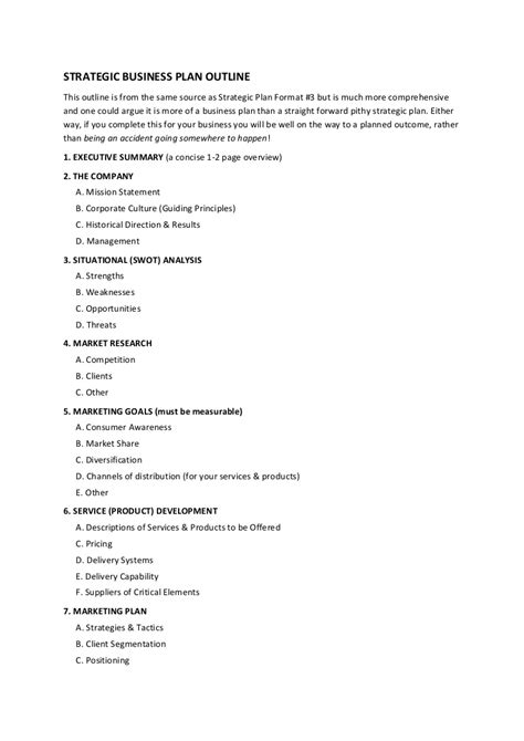 12 Strategic Business Plan Outline Business Plan Outline Template