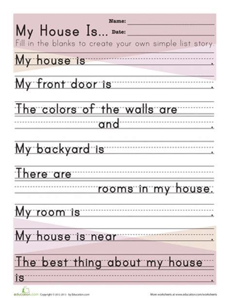 kindergarten activities myself about my house worksheets summer school and prompts