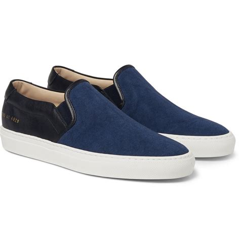 canvas sneakers mens common projects canvas and leather slip on sneakers in