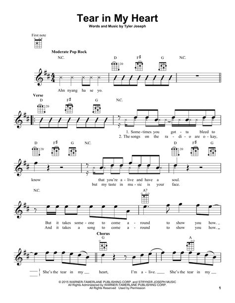 house of gold chords ukulele tear in my heart sheet music by twenty one pilots ukulele 164684