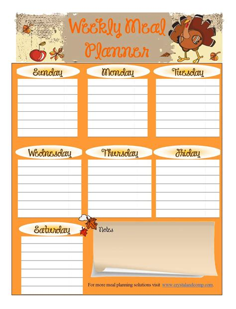 thanksgiving meal planner template free printable meal planner november