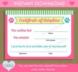 Pet Adoption Certificate Template by Printable Pet Adoption Certificate Animal Theme Cat