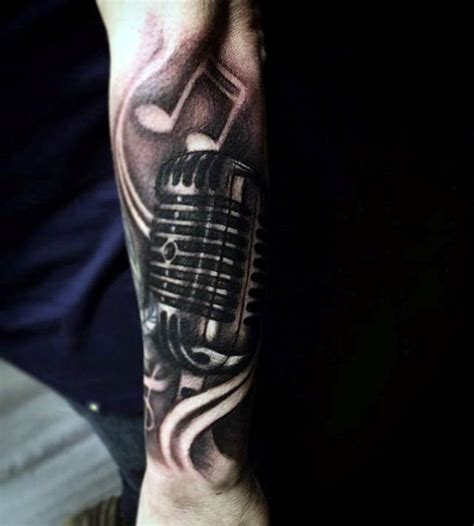 microphone tattoo arm reflective music note microphone mens forearm sleeve
