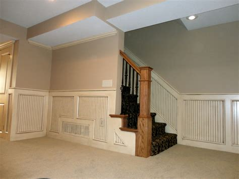 basement stairway with beadboard traditional staircase - Beadboard Basement Walls