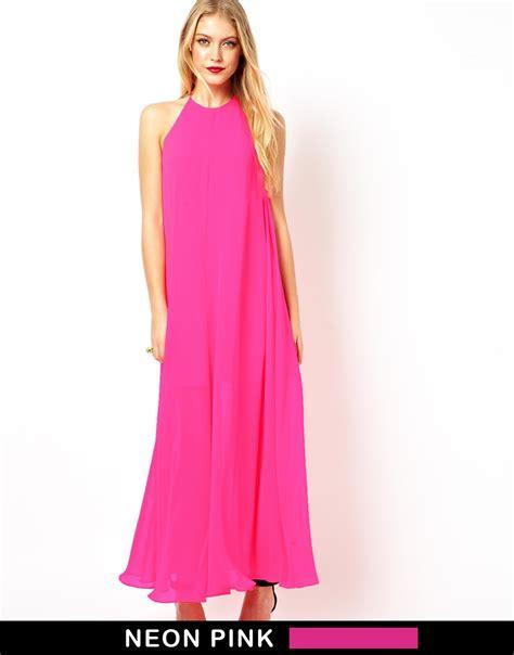 Bw0051 Maxi Dress Pink lyst asos halter maxi dress in pink