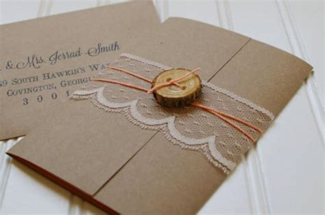Handmade Rustic Wedding Invitations - rustic wood slice and lace wedding invitations unique