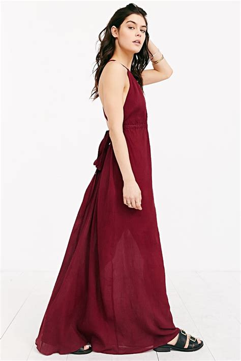 Maxi Modena Wash band of gypsies grecian high neck crepe maxi dress in