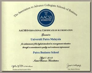 Putra Business School Mba by Acknowledgement From Aacsb Putra Business School