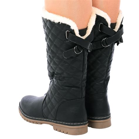 d6z womens quilted faux fur lined thick sole mid