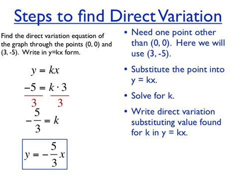 Direct Variation Table by Unit 4 Hw 7 Direct Variation Linear Equation Give 2 Points