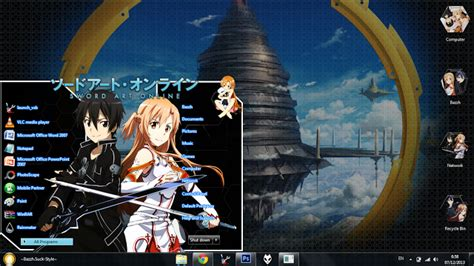 theme win 7 sword art online by bazzh themes anime download