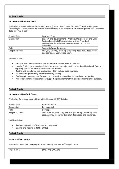 Sle Mainframe Resume by Mainframe Resume Templates 28 Images Sle Resume Mainframe Systems Analyst Best Free