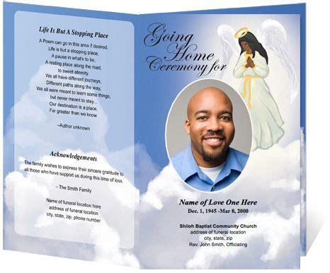 African American Angel Design Funeral Program Template Spiritual Funeral Programs Faith Free Printable Funeral Program Template