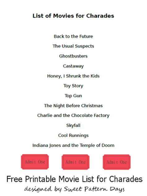 4 best images of charades word list printable free list of movies for charades activity printables