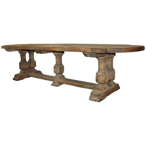 Monastery Dining Table 19th Century Solid Washed Oak Monastery Or Trestle Dining Table At 1stdibs